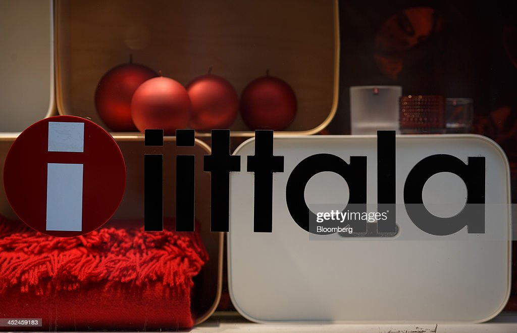 The company logo sits on display on a window of an Iittala homeware store, a unit of Fiskars Oyj, in Utrecht, Netherlands, on Friday, Nov. 29, 2013. European government bonds were little changed as investors showed a muted reaction to Standard & Poor's decision to raise its outlook on Spain's debt and strip the Netherlands of its top credit rating. Photographer: Jasper Juinen/Bloomberg via Getty Images