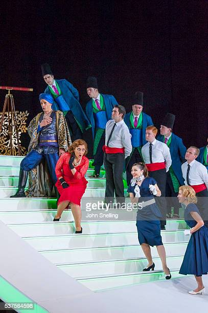 The Company on stage during a performance of L'italiana in Algeri at Garsington Opera at Wormsley on June 1 2016 in High Wycombe England