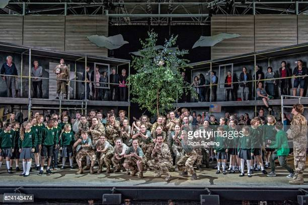 The Company perform on stage during a performance of 'Silver Birch' a new opera by Roxanna at Garsington Opera at Wormsley on July 26 2017 in High...