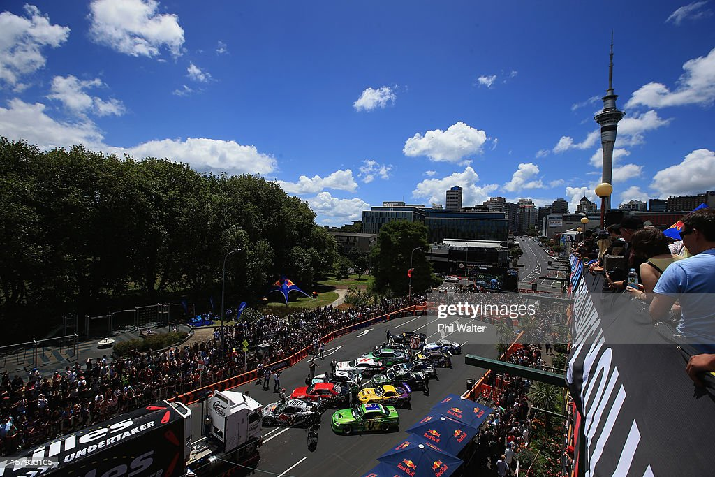 The compeditors line up to compete in the Red Bull Drift Shifters along Victoria Street on December 8, 2012 in Auckland, New Zealand.