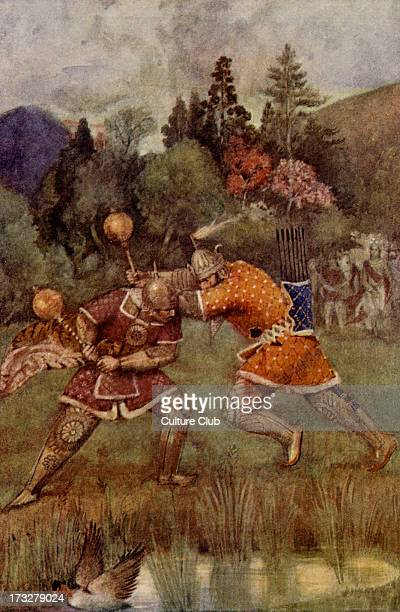 The competition of Prince Bhima and Prince Salya Illustration from early 20th century In the Indian epic the Mahabharat Prince Bhima and Prince Salya...