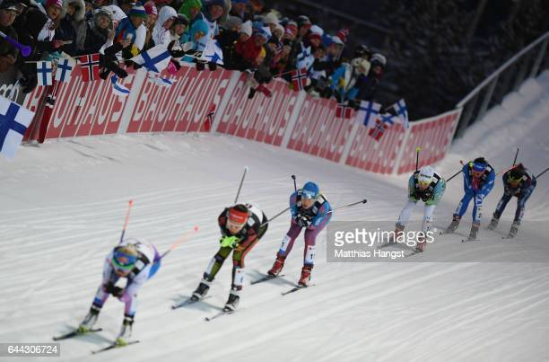 The competitors race in the Women's 14KM Cross Country Sprint third quarter final during the FIS Nordic World Ski Championships on February 23 2017...