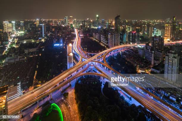 the complex and majestic city elevated roads in Shanghai