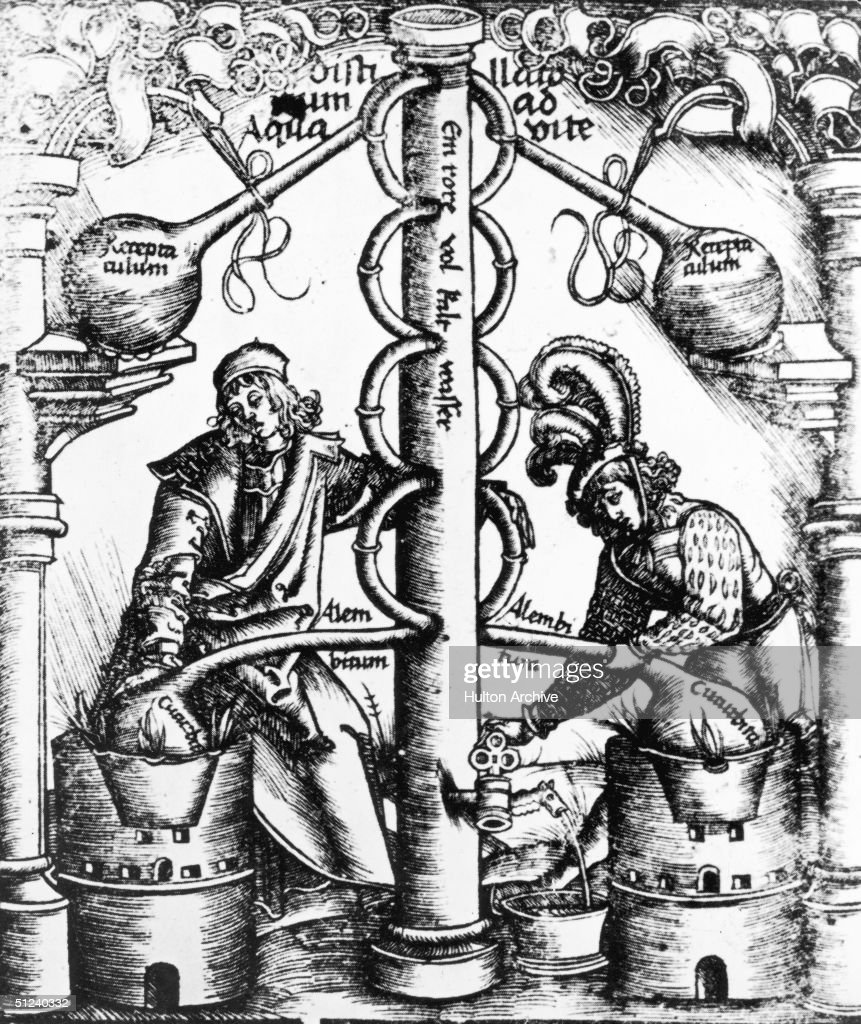1519, The complex, scientific process of distillation from the 'Liber de Arte Distillandi, Simplicia et Composita' by Hieronymus Brunswig. The apparatus is being used to manufacture aqua vitae, the water of life, better known as brandy.