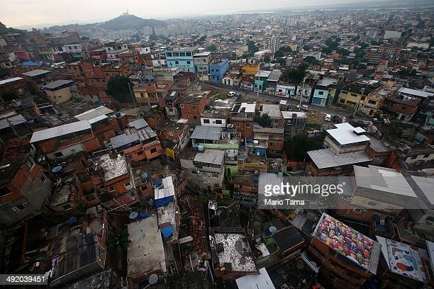 The Complexo do Alemao pacified community or 'favela' is viewed from a cable car on May 18 2014 in Rio de Janeiro Brazil Ahead of the 2014 FIFA World...