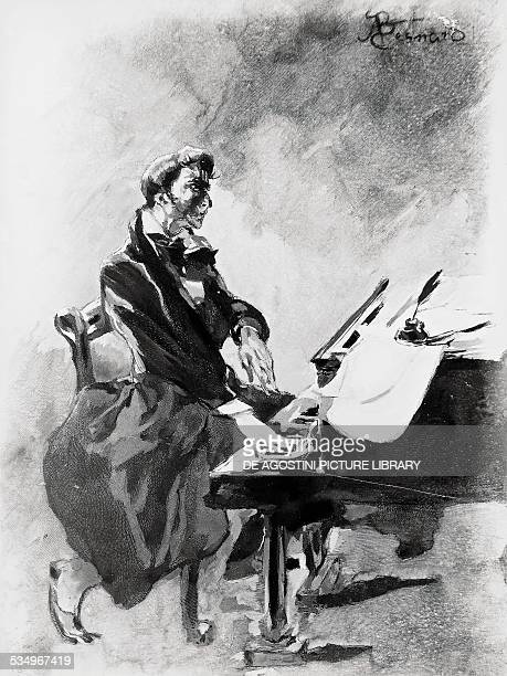 The composer and pianist Frederic Chopin playing the piano by Albert Besnard watercolour