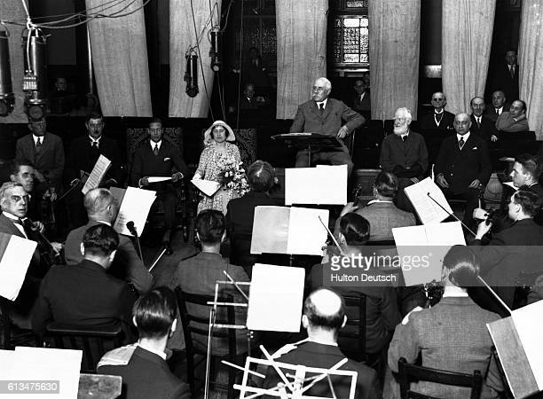 The composer Edward Elgar at the second recording of the Nursery Suite in the prescence of the Duke and Duchess of York Sir Landon Ronald and Albert...