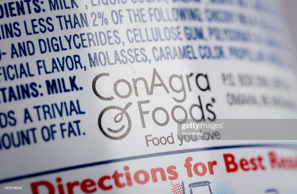The ConAgra Foods Inc. logo is displayed on the company's food products in an arranged photograph in New York, U.S., on Tuesday, Nov. 27, 2012. ConAgra Foods Inc. agreed to acquire Ralcorp Holdings Inc. for about $5 billion, creating one of the largest packaged food companies in North America and concluding a pursuit that included three rejections since March last year. Photographer: Scott Eells/Bloomberg via Getty Images
