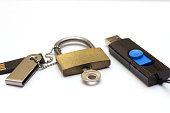 The concept of information storage. Padlock and usb flash drive. locked closed padlock with usb memory stick through it isolated on white backgroundThe concept of information storage. Padlock and usb