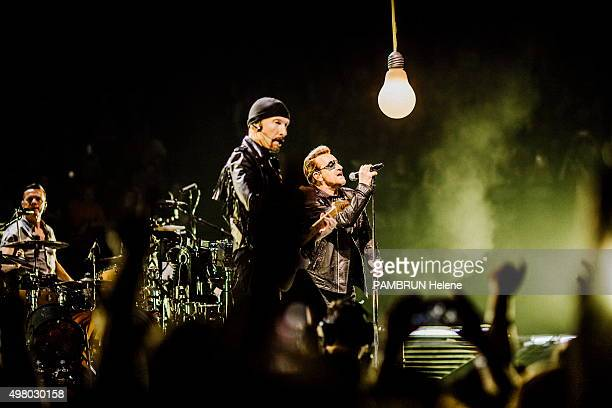 the concert of the group U2 Bono Larry Mullen Jr and The Edge are photographed for Paris Match at Bercy on november 10 2015 in Paris France