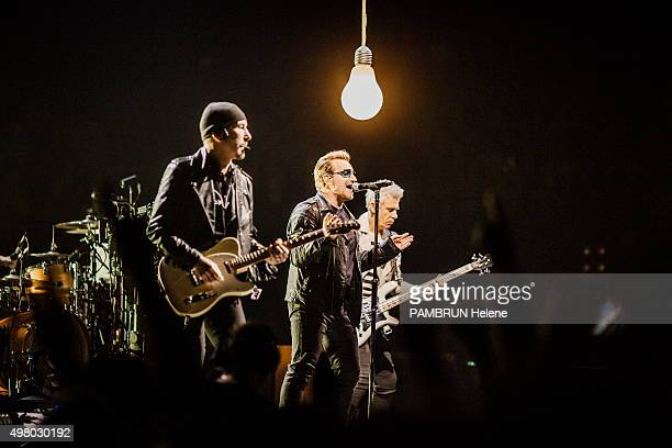 the concert of the group U2 The Edge Bono and Adam Clayton bass player are photographed for Paris Match at Bercy on november 10 2015 in Paris France