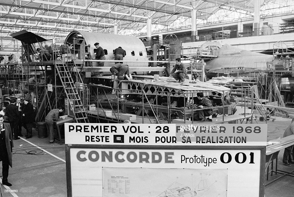 The Concorde prototype 001 under construction at the Sud Aviation factory in St Martin-Toulouse, France.
