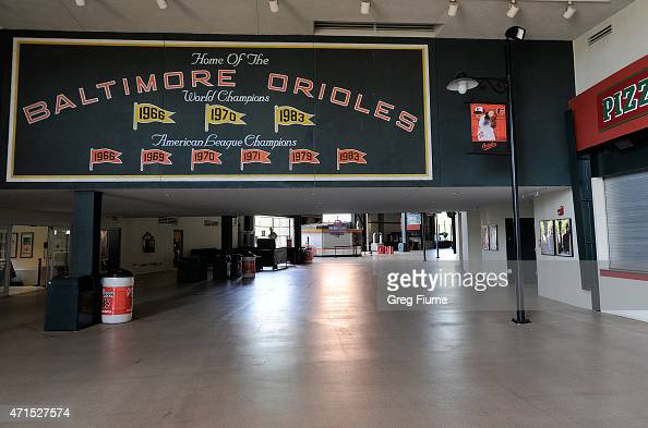 The concourse sits empty before the game between the Baltimore Orioles and the Chicago White Sox at Oriole Park at Camden Yards on April 29 2015 in...