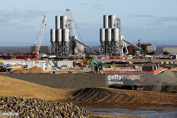 The concrete batching plant stands on the horizon as work recommences at the Hinkley Point C nuclear power station operated by Electricite de France...