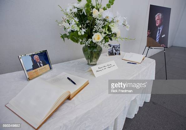 The condolence books for Senator Edward M Kennedy at the John F Kennedy Library in the Dorchester section of Boston MA on August 27 2009 Senator...
