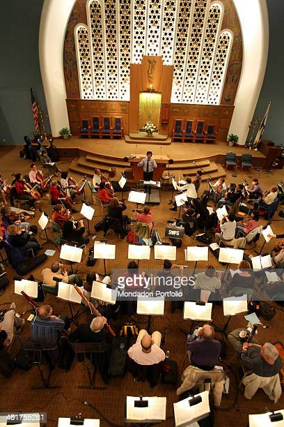 The conductor Alberto Veronesi photographed while rehearsing the Cavalleria rusticana by Pietro Mascagni at the Stephen Wise Free Synagogue The...