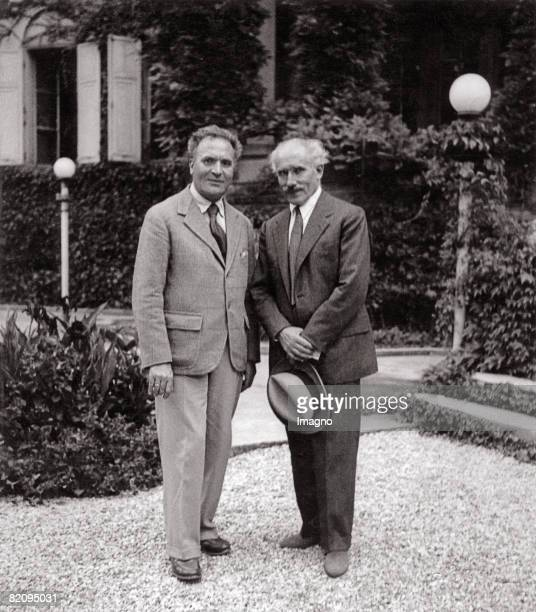 The conductors Bruno Walter and Arturo Toscanini probably at Leopoldskron Palace Salzburg Photograph around 1935 [Die Dirigenten Bruno Walter und...