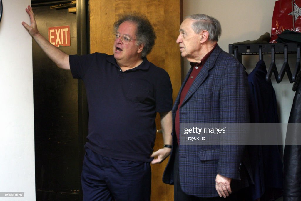 The conductors <a gi-track='captionPersonalityLinkClicked' href=/galleries/search?phrase=James+Levine+-+Conductor&family=editorial&specificpeople=220716 ng-click='$event.stopPropagation()'>James Levine</a>, left, and <a gi-track='captionPersonalityLinkClicked' href=/galleries/search?phrase=Pierre+Boulez&family=editorial&specificpeople=220423 ng-click='$event.stopPropagation()'>Pierre Boulez</a> at the Juilliard School on January 20, 2008.