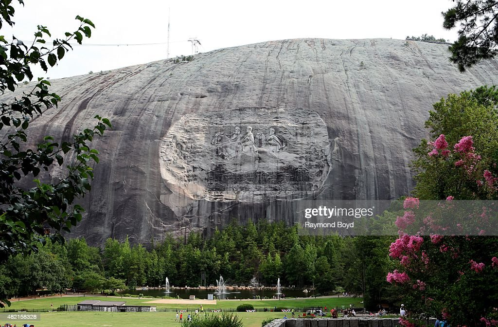 The Confederate Memorial at Stone Mountain Park depicting three Confederate heroes of the Civil War President Jefferson Davis Generals Robert E Lee...