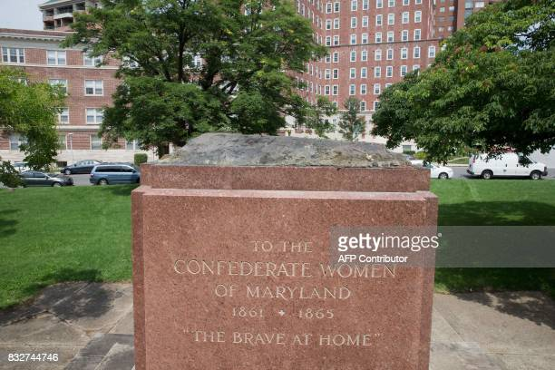 The Confederate Women's Monument base is viewed in Bishops Square Park in Baltimore Maryland after being removed by the city on August 16 2017...