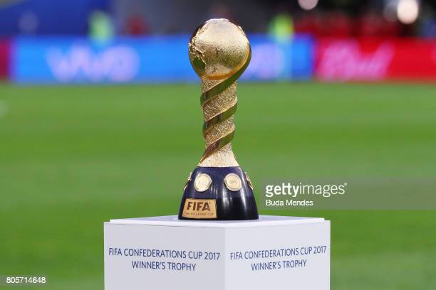 The Confederations Cup trophy is seen prior to the FIFA Confederations Cup Russia 2017 Final between Chile and Germany at Saint Petersburg Stadium on...