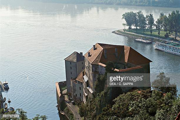 The confluence of the Inn river and the Danube Passau Bavaria Germany