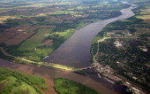 The confluence of the St Croix and Mississippi Rivers is seen from the air on May 31 2012 AFP PHOTO / Karen BLEIER