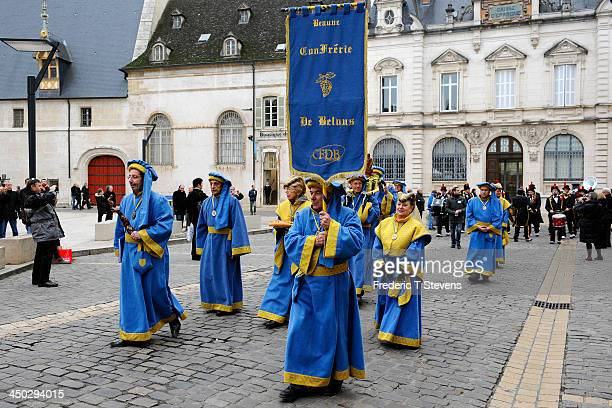 the 'confrerie Belnus' scroll through the city during the 153rd Hospices de Beaune wine auction celebration on November 17 2013 in Beaune France