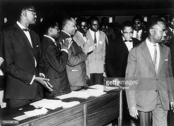 The Congolese head of state Joseph KASAVUBU background right and on the left Prime Minister Patrice LUMUMBA at the Palace of the Nation in Congo in...