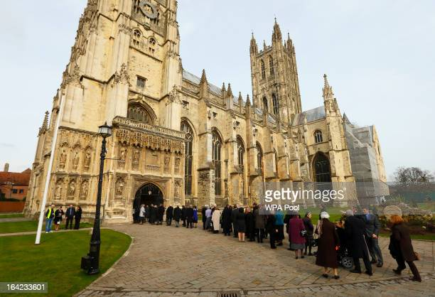 The congregation arrive for the enthronement of Justin Welby as Archbishop of Canterbury at Canterbury Cathedral on March 21 2013 in Canterbury...