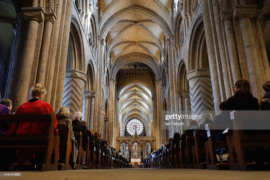 The congregation listen to a service held in Durham Cathedral during the inauguration service for the Right Reverend Paul Butler on February 22 2014...