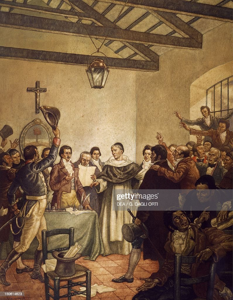 The Congress of Tucuman July 9 watercolour by Moreno Gonzales Argentina 19th century