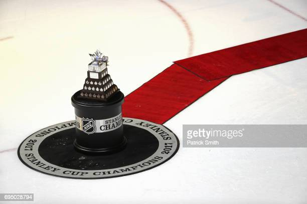 The Conn Smythe award is displayed prior to its presentation to Sidney Crosby after the Pittsburgh Penguins 20 victory over the Nashville Predators...