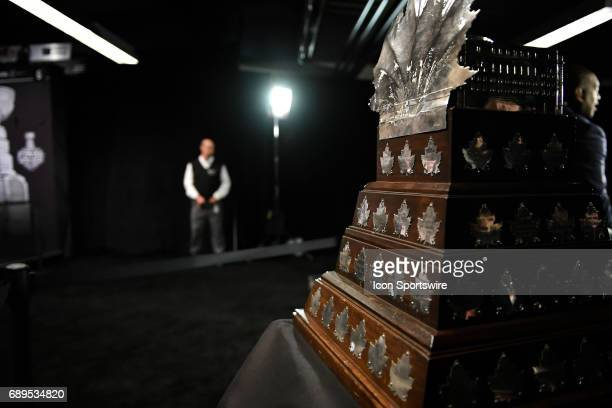 The Conn Smythe Trophy is displayed during the NHL Stanley Cup Final Media Day at PPG Paints Arena in Pittsburgh on May 28 2017