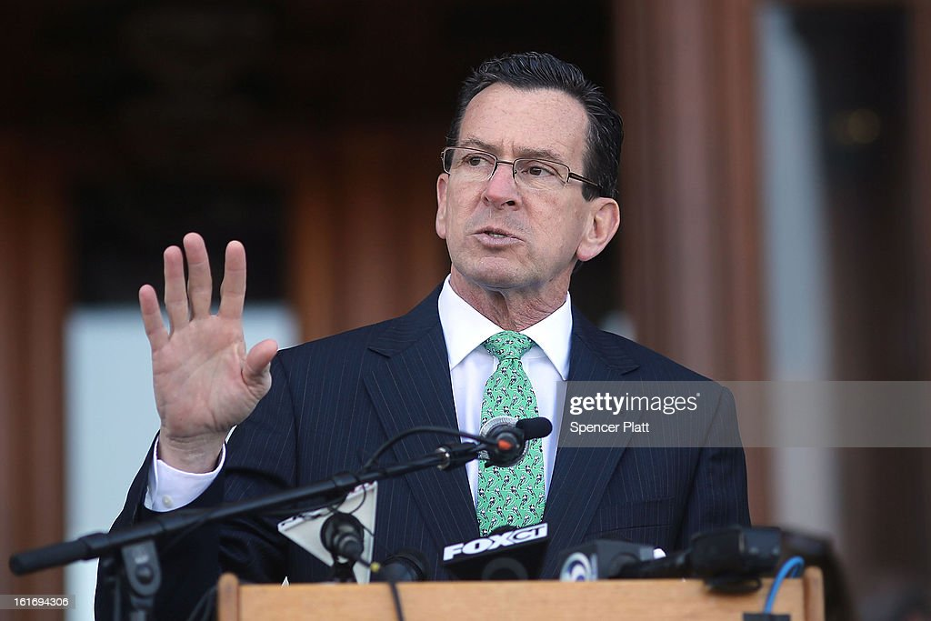 The Connecticut Gov. Dan Malloy speaks at a rally at the Connecticut State Capital to promote gun control legislation in the wake of the December 14, 2012, school shooting in Newtown on February 14, 2013 in Hartford, Connecticut. Referred to as the 'March for Change' and held on the two-month anniversary of the massacre in Newtown, Connecticut, participants called for improved gun safety laws. Among the safety measures being demanded are for universal background checks, more work within the mental health community and restricting high-capacity magazines.