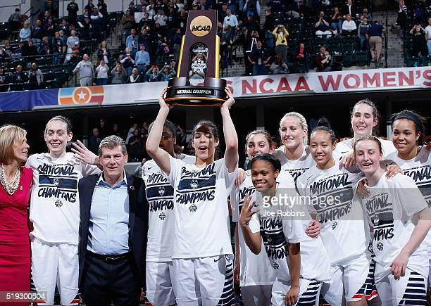 The Connecticut Huskies celebrate with the trophy after their 8251 victory over the Syracuse Orange to win the championship game of the 2016 NCAA...