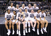 The Connecticut Huskies celebrate with the trophy following their 8251 victory over the Syracuse Orange to win the 2016 NCAA Women's Final Four...