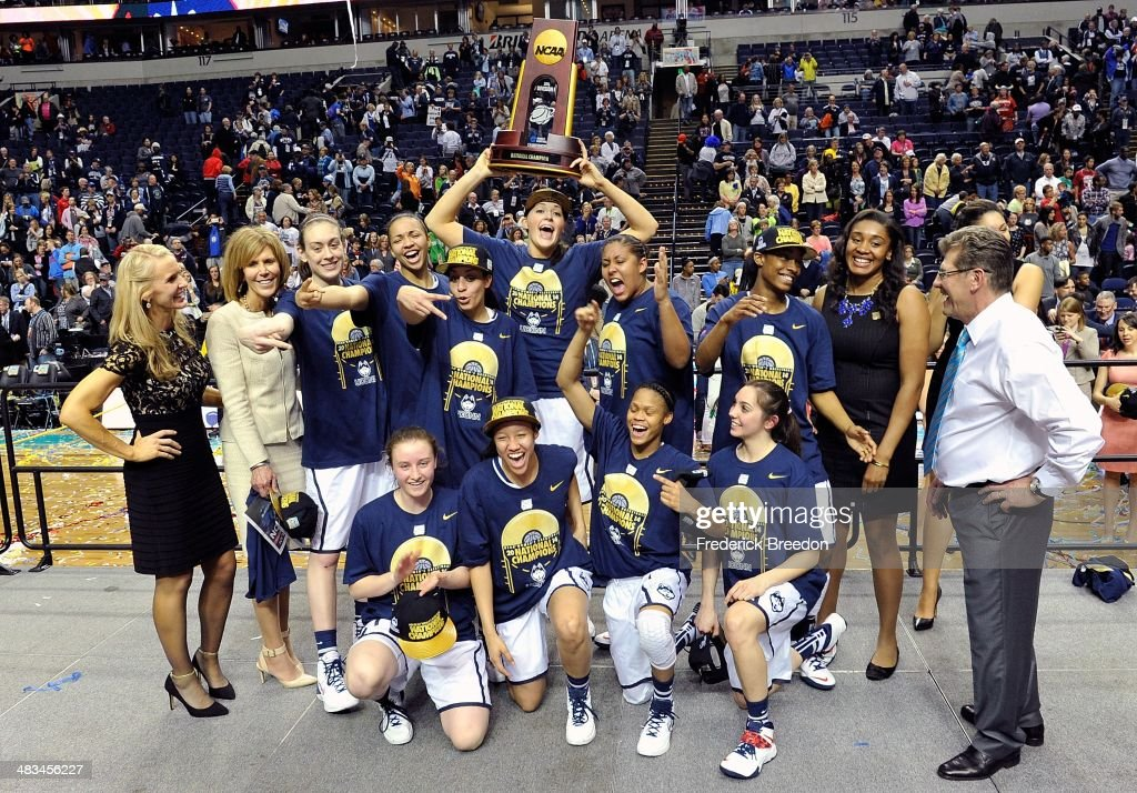 The Connecticut Huskies celebrate with their trophy after a 79-58 victory over the Notre Dame Fighting Irish in the NCAA Women's Basketball Tournament Championship game at Bridgestone Arena on April 8, 2014 in Nashville, Tennessee.