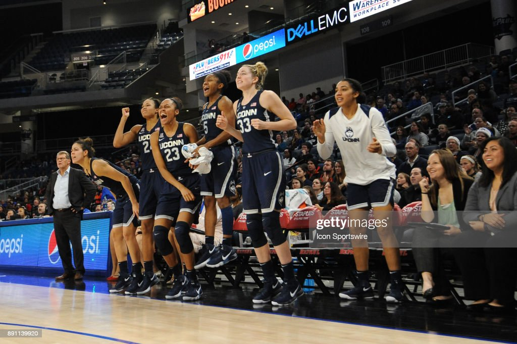 The Connecticut Huskies reacts during a game between the Connecticut Huskies and the DePaul Blue Demons on December 8, 2017, at the Wintrust Arena in Chicago, IL. Connecticut won 101-69.
