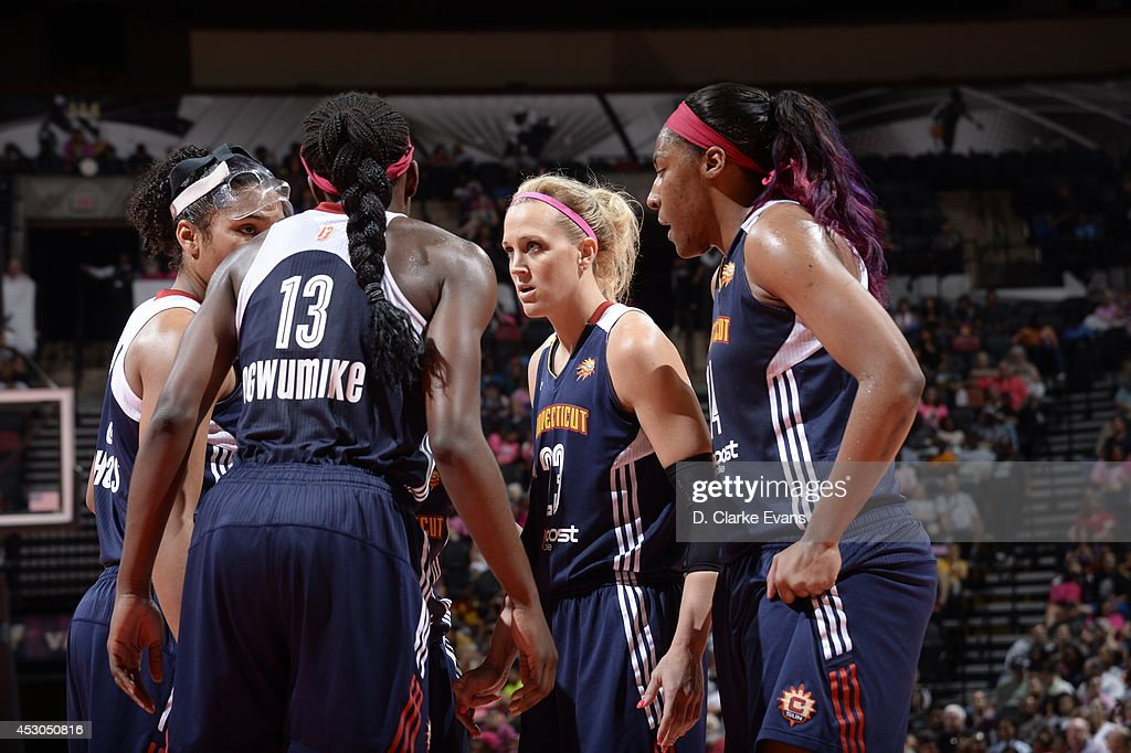 The Connecticut Sun huddle during the game against the San Antonio Stars at the AT&T Center on August 1, 2014 in San Antonio, Texas.