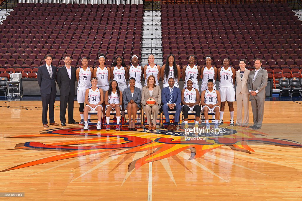 The Connecticut Sun pose for a team photo on September 13 2015 at the Mohegan Sun Arena in Uncasville Connecticut NOTE TO USER User expressly...