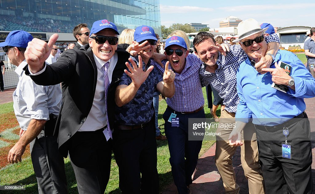 The connections of Mahuta celebrate winning Race 6, the Autumn Stakes during Melbourne Racing at Caulfield Racecourse on February 13, 2016 in Melbourne, Australia.