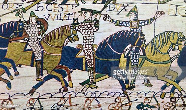 The conquest of England by the Normans Death of the Brothers of King Harold A detail from the Bayeux tapestry Caen c 1070 Treasury of the Cathedral...