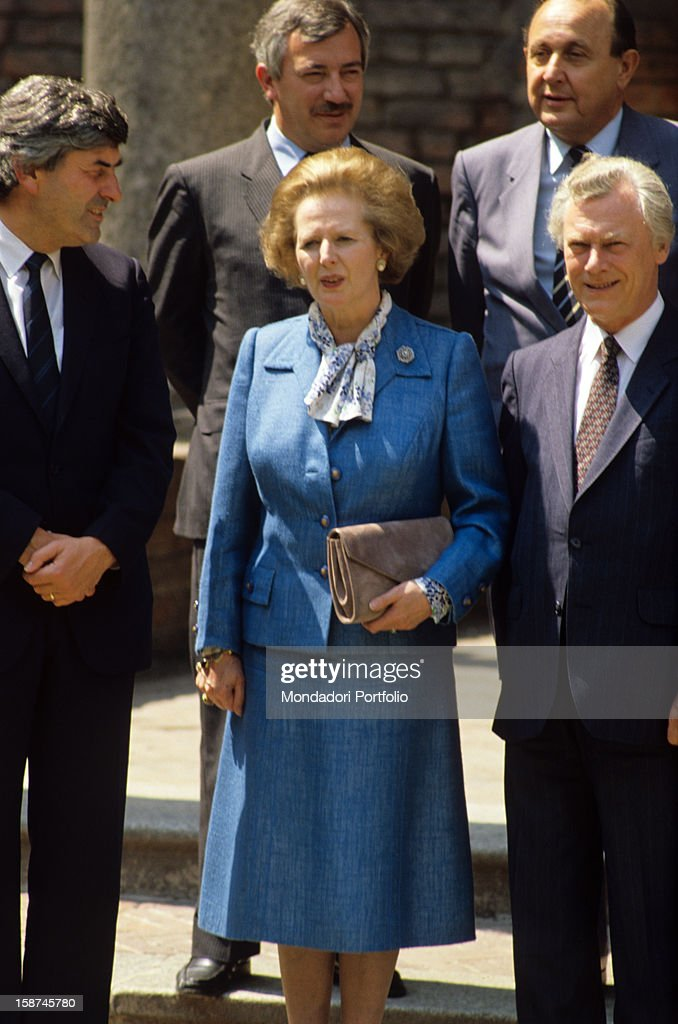 The conservative leader <a gi-track='captionPersonalityLinkClicked' href=/galleries/search?phrase=Margaret+Thatcher&family=editorial&specificpeople=159677 ng-click='$event.stopPropagation()'>Margaret Thatcher</a>, also known as The Iron Lady, poses soberly for the official foto in the company of other leaders, during the G7. Venice, June, 1980.