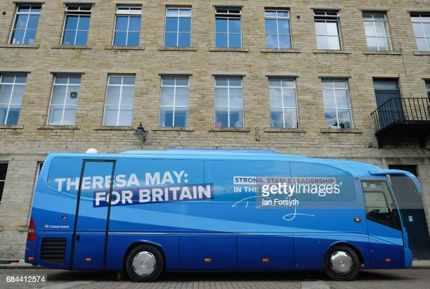 The Conservative Party campaign bus is parked at Dean Clough Mills at the launch the Conservative Party Election Manifesto on May 18 2017 in Halifax...