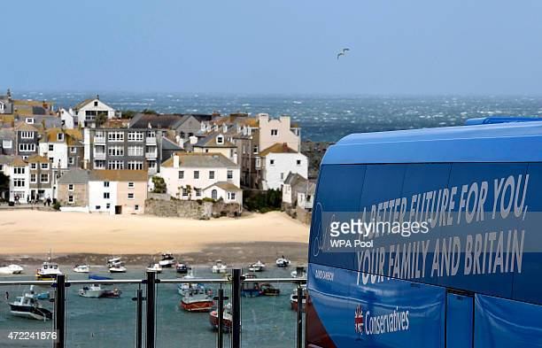 The Conservative Party election campaign bus is seen during an election rally on May 5 2015 in St Ives England Campaigning is intensifying as the...