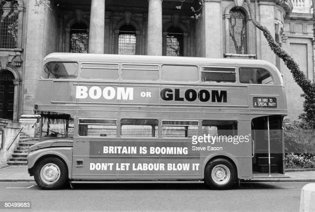 The Conservative Party election campaign bus stands idle in London two days before the general election 30th April 1997