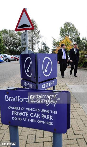The Conservative Party Leader David Cameron with David Gauke from the Shadow Treasury team arrive at the Bradford and Bingley Headquarters at...