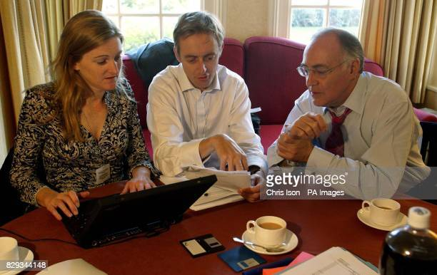 The Conservative Party Leader Michael Howard prepares his speech in his hotel room with his Political Secretary Rachel Whetstone and George Bridges...