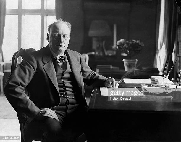 The Conservative statesman and wartime leader Sir Winston Churchill at his Kent home